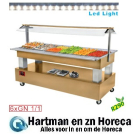 BSB/6N-D1-R2 - Buffet - Salade bar, gekoeld, 6x GN 1/1-150 (Licht eiken hout) DIAMOND
