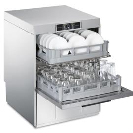 045UD522D - Dubbelwandige en geisoleerde Smeg glazenspoeler met spoelcapaciteit voor 2 korven, drukverhogingspomp en atmosferische boiler (HTR), 415 mm vulhoogte en automatische water ontharder TOPLINE