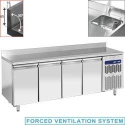 "TG4N/LA+EV - Geventileerde koeltafel ""muraal"", 4 deuren GN 1/1, met spoelbak"