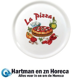 "DJ957 - Saturnia porseleinen pizzaborden 31cm met ""La Pizza""-decor"