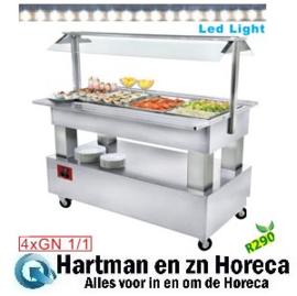BSB/4N-A1-R2 - Buffet - Salad bar, gekoeld, 4x GN 1/1-150 (wit hout) DIAMOND