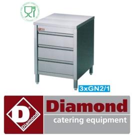 TACS67/B - Werktafelkast met 3 laden DIAMOND