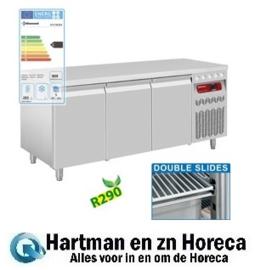 DT178/R2 - Geventileerde koelwerkbank, 3 deuren GN 1/1, 405 Liter - mm (BxDxH) : 1755x700xh850/900  DIAMOND