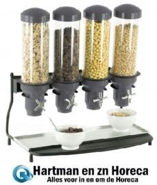 CDC4 - Graandispenser Metaal  ABS Buizen 4 x 3 Liter CASSELIN