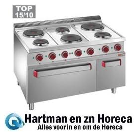E7/6PFA11 - Elektrisch fornuis met 6 ronde platen, elektrische oven GN 2/1 en grill, met kast GN 1/1 DIAMOND Optima 700