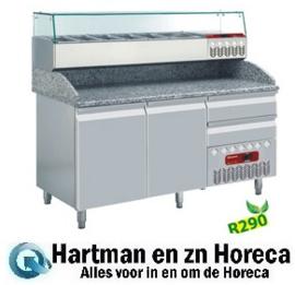 TP23/R2+SX160G/PR2 - Pizza voorbereidingstafel koelwerkbank voorbereidings met opzetkoeling 2 deuren 600x400 mm en 2 neutrale laden (4x bakken 600x400) afm : 1600x720(800)xh880/940(1090) DIAMOND