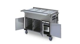 0162947 - Voedseltransportwagen SPTW-3/EBF voorzien van klapdeksels, bakken met folie-verwarming en kastruimte met 5 geleiders
