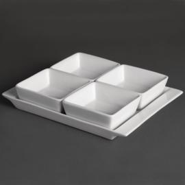 U817 -Olympia Whiteware schaal + 4 bakjes