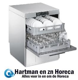 044UD512D - Dubbelwandige en geisoleerde Smeg tankvoorlader vaatwasser met spoelcapaceiteit voor 2 korven, drukverhogingspomp en atmosferische boiler (HTR) dubbele korf uitvoering EASYLINE