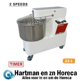 NT22/T2V - Deeg spiraalkneder 22 liters, 2 snelheden, timer, op wielen DIAMOND
