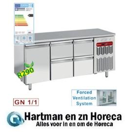 TG3N/H-R2+2XK1/2-H - Koelwerkbank geventileerd, 1 deur en 4 lade's  GN 1/1 DIAMOND