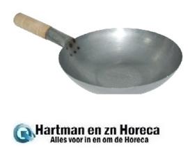 K297 - Vogue zacht stalen wok met platte bodem 35,5 cm
