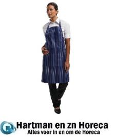 A972 - Chef Works verstelbare halterschort donkerblauw-blauw gestreept