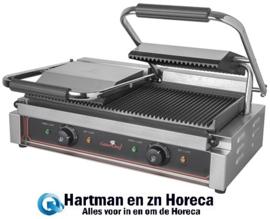 688415 - Contactgrill - Duetto Compact boven en beneden geribd - Caterchef 3600 Watt