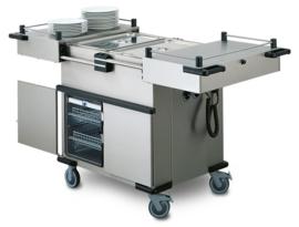 0162945 - HUPFER Voedseltransportwagen SPTW-2/EBF voorzien van schuifdeksels, galerij, bakken met folie-verwarming en kastruimte met 5 geleiders