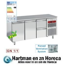 TG3N/H-R2+1XK1/2-H  - Koelwerkbank, geventileerd, 2 deuren en 2 lade's GN 1/1 DIAMOND