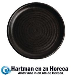 FA316 -Olympia Canvas ronde borden met smalle rand zwart 18cm -6stuks