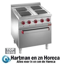 E7/4PQF7 - Elektrisch fornuis 4 vierkante platen op elektrische oven GN 2/1 en gril DIAMOND