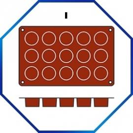070058 - BAKMAT PETIT FOUR 1/3 GN in blister-verpakking ROND 40 MM / HOOG 20 MM
