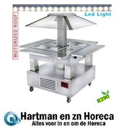 CSB/4D-A1-R2+KM - Eiland Buffet - Salad bar, gekoeld, gemotoriseerde koepel, 4x GN 1/1-150 (wit hout) DIAMOND