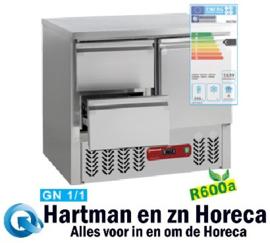 SA2/R6+GC1/2/R6 - Koelwerktafel 1 deur en 2 lade GN 1/1, 240 Liter DIAMOND