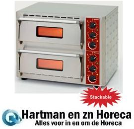 PIZZA-QUICK/43-2C - Elektrische pizza-oven, 2 kamers (3+3 kW) 430x430xh100 mm DIAMOND