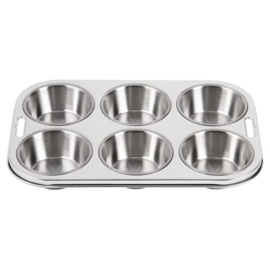 E714 - Vogue diepe RVS bakvorm 6 muffins