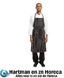 B248 - Chef Works Premium geweven schort zwart/wit gestreept