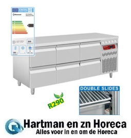 DT178/R2+3XCA1/2-PM - Geventileerde koelwerkbank, 3 x 2 Lade mm (BxDxH) : 1755x700xh850/900 DIAMOND