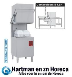 DK7/6/B-S  -  Doorschuifvaatwasser inlooptafel links met spoelbak+uitlooptafel+handdouche met mengkraan DIAMOND