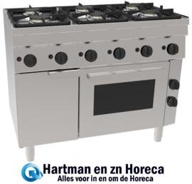 GH6 / 6FLUBO - Gasfornuis 6 Pits & Elektrische Oven  3x 3kW & 3x 3,6 kW  1050x600x(H)850mm NORDCAP