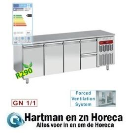 TG4N/H-R2+1XK1/2-H  - Koelwerkbank , geventileerd, 3 deuren plus 2 lade  GN 1/1 DIAMOND