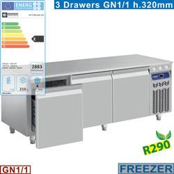 N77/B316G-R2 - Vriesonderstel, 3 laden GN 1/1-h 200 mm