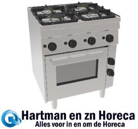 GH6 / 4FLUBO - Gasfornuis 4 Pits & Elektrische Oven 2x 3kW & 2x 3,6 kW 700x600x(H)850mm NORDCAP