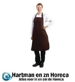 B428 -Whites halterschort polyester-katoen chocoladebruin