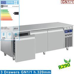 N77/R316G-R2 - Gekoeld onderstel, 3 laden GN 1/1-h 200 mm - mm (BxDxH) : 1600x700xh630/650  DIAMOND