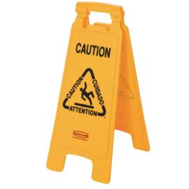 """GG991 -Rubbermaid meertalig waarschuwingsbord """"Caution"""""""