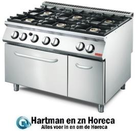 GN083 -Gastro M 700  plus gasfornuis met 6 branders en gas oven GM70/120CFG