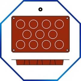 070064 - BAKMAT MINI MUFFIN 1/3 GN in blister-verpakking ROND 51 MM / HOOG 28 MM