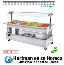 BSB/6N-A1-R2 - Buffet - Salade bar, gekoeld, 6x GN 1/1-150 (wit hout) DIAMOND
