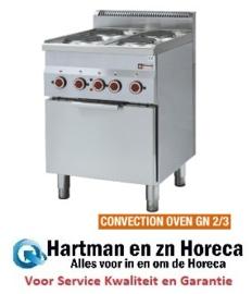 E60/4PFV6 - Fornuis 4 kookplaten en elektrische convectie-oven GN 2/3 - Diamond Pro 600