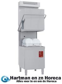 D26/6B-AC-RC - Doorschuifvaatwasser met kap, mand 500x500 mm, Doorlopende ontharder + damp condensor-recuperator DIAMOND