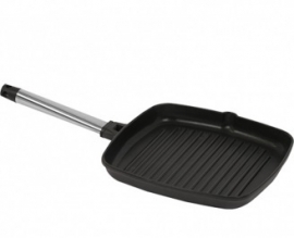 490427 - Grillpan geribbeld RVS greep 270x270 mm