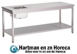 GN138 - Gastro M RVS cheftafel met onderblad 120x70x85cm