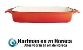 GH322 -Vogue rechthoekige gietijzeren ovenschaal oranje 2,8L