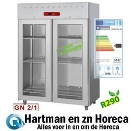 AD2B/H2G-R2 - Vrieskast 1400 liter geventileerd, 2 glazen deuren GN 2/1 DIAMOND