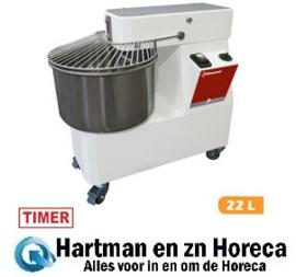 NT22/M1 - Deeg spiraalkneder 22 Liters, timer, op wielen DIAMOND