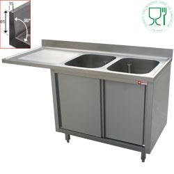 L1821VS-AS - Spoeltafel met 2 kuipen 500x500x325 links druipvak op kast met 2 schuifdeuren en nis voor vaatwasser DIAMOND