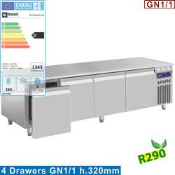N77/R420G-R2 - Gekoeld onderstel, 4 laden GN 1/1-h 200 mm -mm (BxDxH) : 2000x700xh630/650  DIAMOND