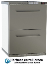 3081180002Z - Bedrijfskoelkast met circulatiekoeling en 2 met CNS  lade NordCap HAMBURG 180-2-Z